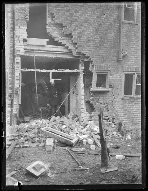 Air Raid Damage in Berkshire Photograph from Reading Chronicle Collection - September 1940 completed for accessibility and SEO Air raid damage to a house in Berkshire.  Example of the damage an air raid could cause. Many areas of Berkshire were affected in similar ways during the Second World War including Reading, Winkfield, Binfield, Woodley and Caversham amongst others.