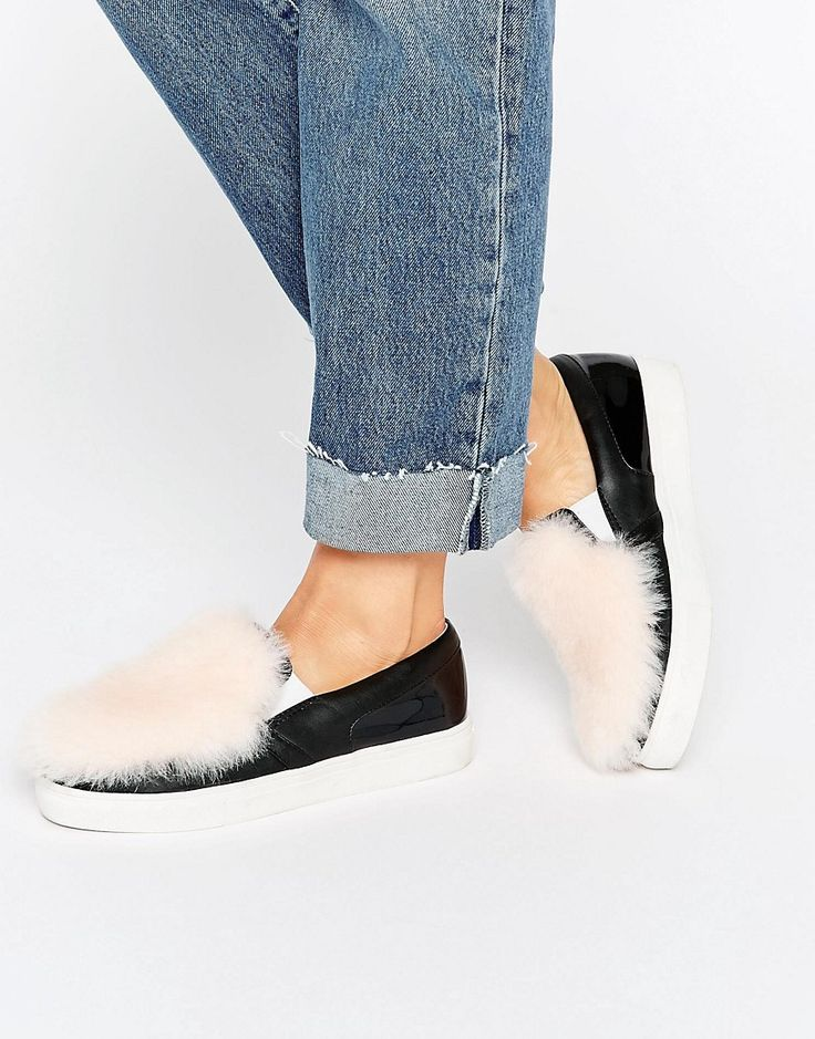 Image 1 of Lost Ink Erika Black Fluffy Panel Slip On Sneakers