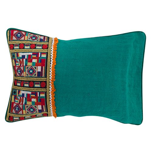 Stunning heavily embroidered cushion, stunning piece blended with with bright colours, include orange, red, gren, yellow, cream and white. Flowers, quite mosaic looking,  Measurements; 40x60x10 cm $42.25