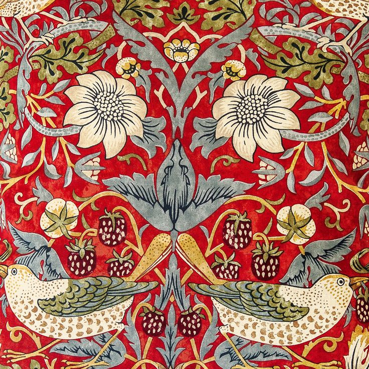 William Morris  Strawberry Thief Crimson  William Morris Strawberry Thief Crimson Curtains  Tie Backs - Surrey Linen Company - Quilte...