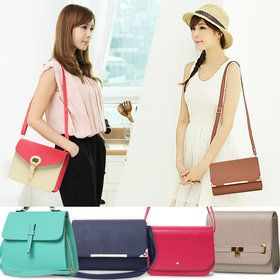 Gmarket - 2 tone cross body bag / snap closure / square / strap ...