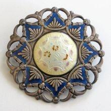 Early Jakob Tostrup Sterling Enamel Brooch Norway Medallion-Style