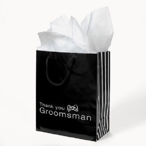 Lot of 12 Black Paper Thank You Groomsmen Wedding Bridal Party Gift Bags Groom