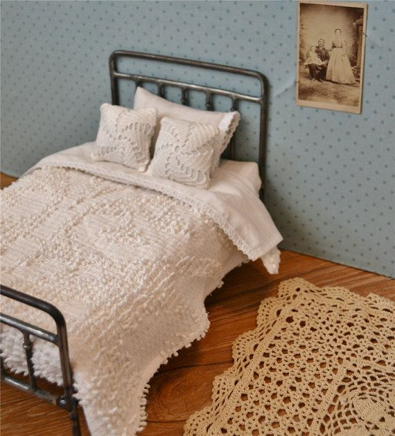 Doll Bedding Vintage Chenille Bedspread and Sheet Set for Playscale Blythe Bed. $40.00, via Etsy.