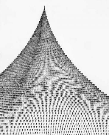 Agnes Denes: Pascal's Perfect Probability Pyramid and the People Paradox - The Pradicament, 1980