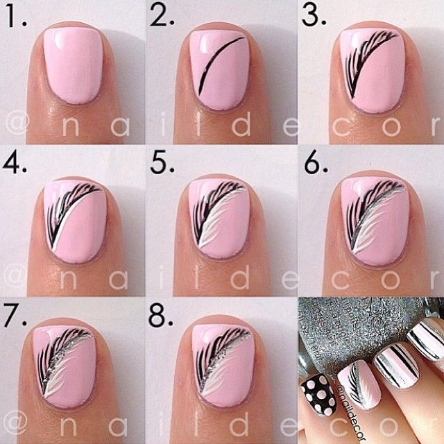 Elegant feather design on pink by naildecor @ Instagram