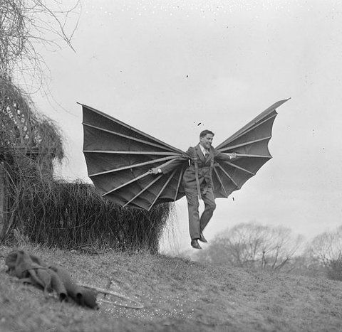 Bat winged flying machine :: Mme. Alberti's flying contraption