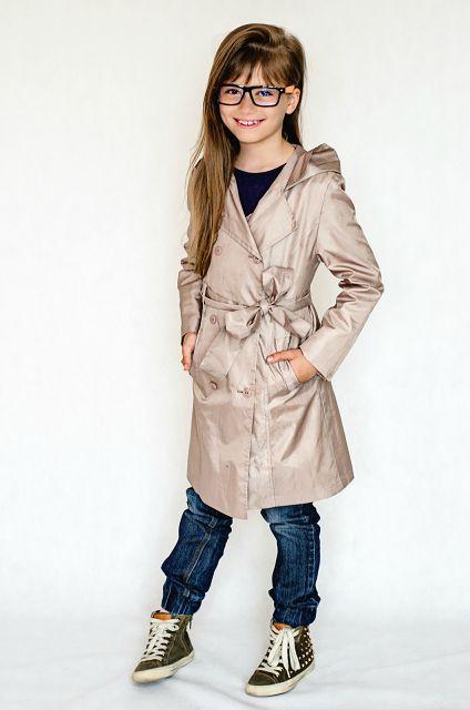 Elegancki płaszczyk dla dziewczynki, nie tylko przeciwdeszczowy ale i stylowy, Maaya #fashion_kids