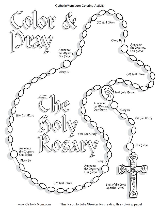 "Coloring page doubles as a ""how to"" for kids rosary"