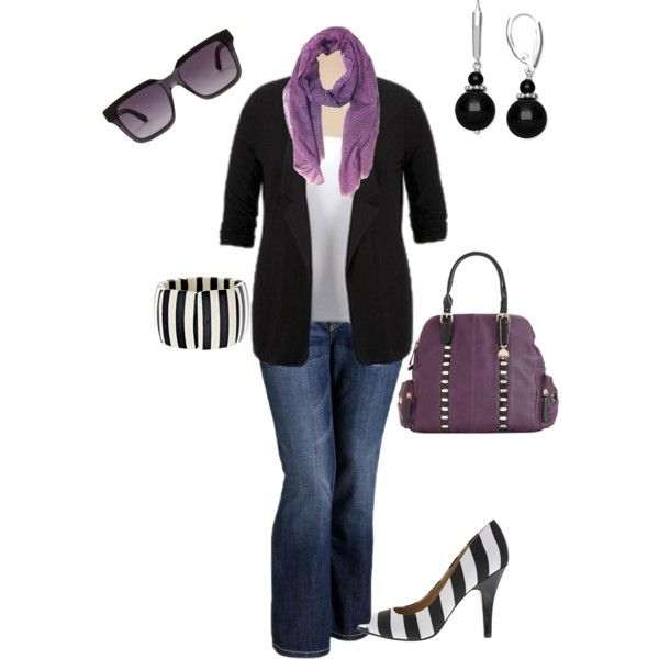"""""""Plus size little bit of purple"""" by penny-martin on Polyvore"""