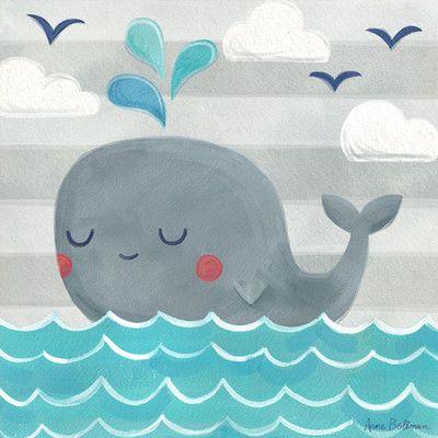 "Oopsy Daisy ""Let's Set Sail Whale"" by Anne Bollman Canvas Art | Wayfair"