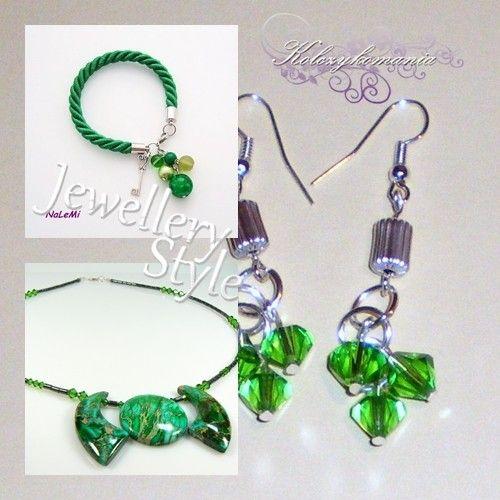 Jewellery Fashion | kolczykomania  Stylizacja biżuteryjna: zielona mila  bransoletka : http://www.kolczykomania.com/produkt/key-heart-zielona naszyjnik : http://www.kolczykomania.com/produkt/naszyjnik-jaspis-zielny kolczyki : http://www.kolczykomania.com/produkt/kolczyki-z-zielonymi-krysztalkami  Stylistka: Artkoral