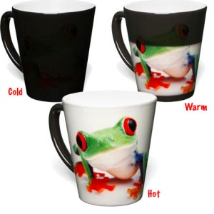Mug changes colour based on heat of content. Thermocramatic Pigment.