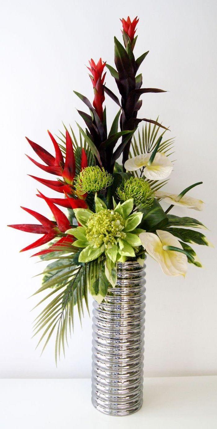 Metal Silver Vase Succulents Lillies Green Palm Leaves Flower Arrangements Bouquet R In 2020 Flower Vase Arrangements Flower Arrangements Simple Tall Vase Arrangements