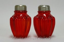 Red glass Salt & Pepper Shakers