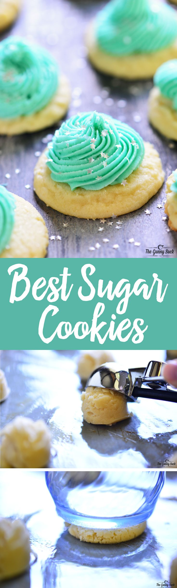 The BEST Sugar Cookie recipe for soft, tender cookies with NO refrigeration needed, NO rolling dough and NO cookie cutters! Perfect for Christmas cookies!