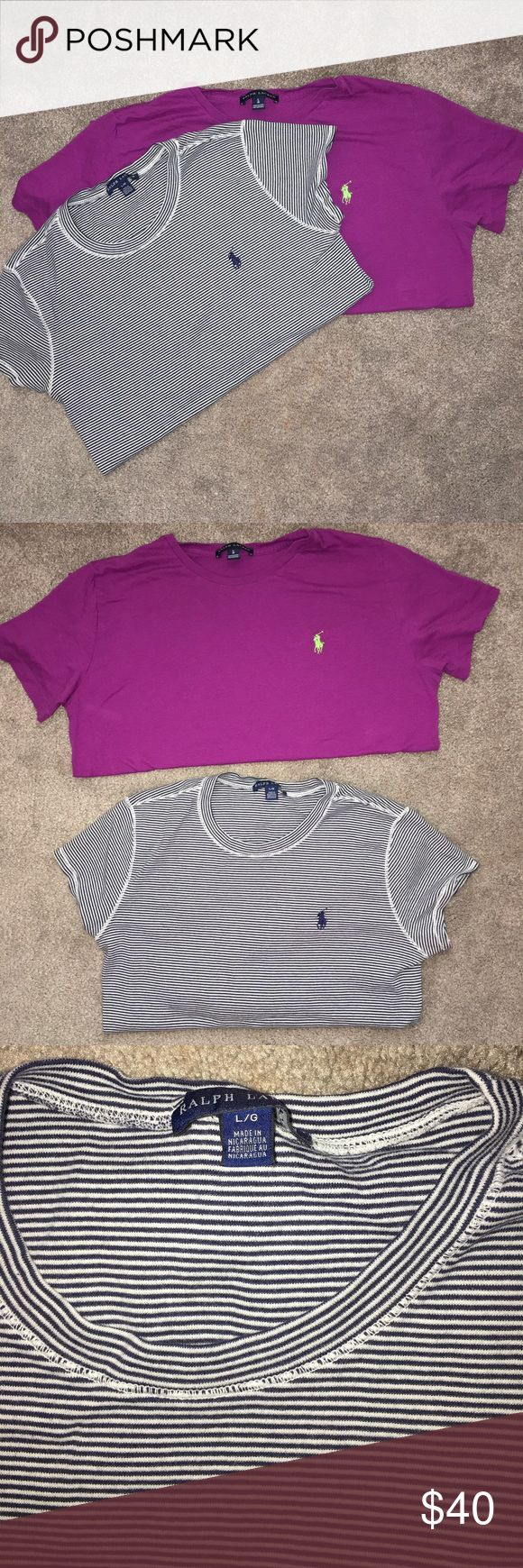 Ralph Lauren Polo t shirts bundle both women's size large. bundle of both shirts if you just want one let me know. Polo by Ralph Lauren Tops Tees - Short Sleeve