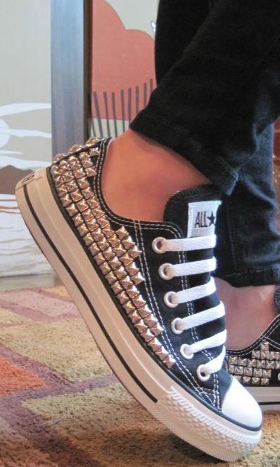 "I don't like a lot of ""bling"" but would wear these.  Cute studded Chucks."