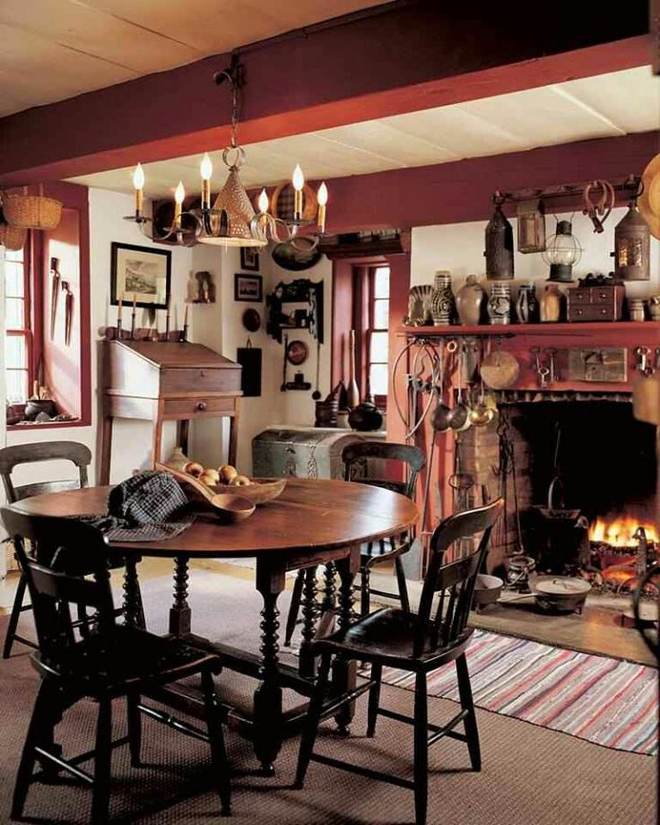 124 best Early American Colonial Home Decorating Interiors