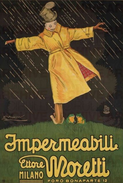 Vintage Italian Posters ~ #Italian #vintage #posters ~ By Achille Lucien Mauzan, 1921, Impermeabili Moretti.