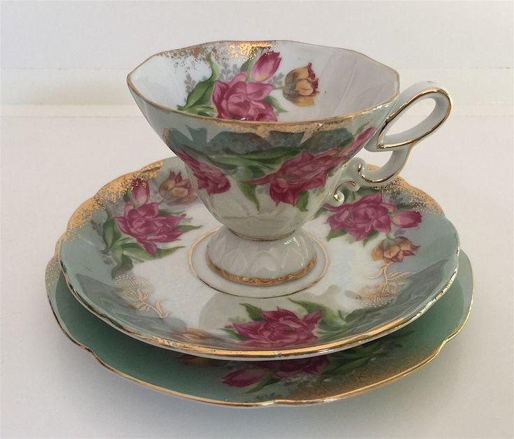 Vintage Floral Trio Cup Saucer Plate Gold Trim Green Ornate Handle #2