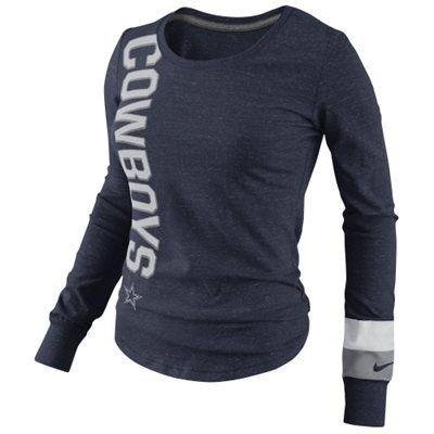 Nike Dallas Cowboys Go Long Ladies Long Sleeve T-Shirt - Navy Blue