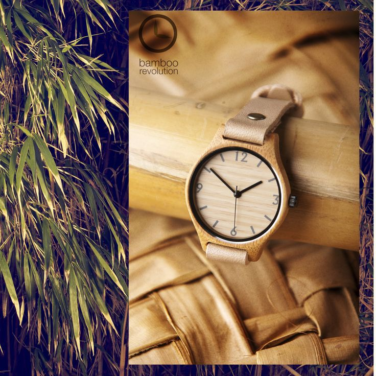 Natural beige bamboo watch