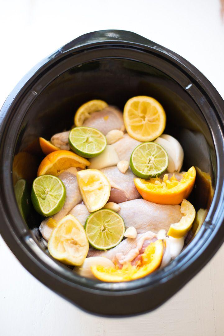 Slow Cooker Citrus Chicken (Pollo Asado) // bright citrus flavors + tender, juicy, fall-off-the-bone chicken