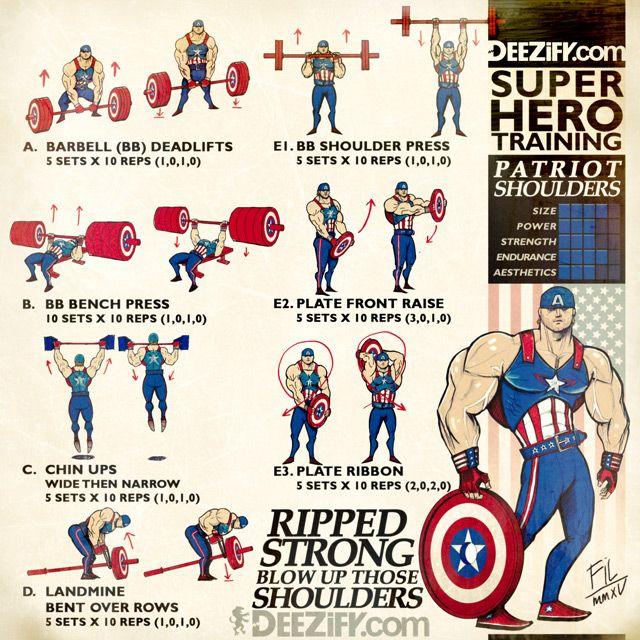 WOD: PATRIOT SHOULDERS    #fitness #workout #wod #superhero #captainamercia