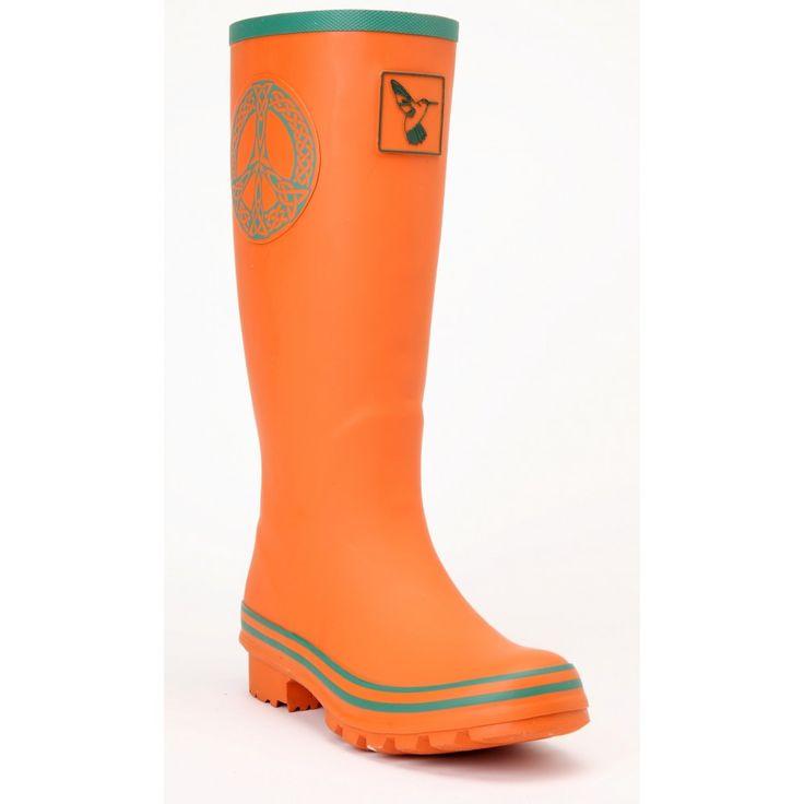 Ladies Festival Wellington Boots Orange With Turquoise Edging UK 3-8 | Outdoorcampingdirect