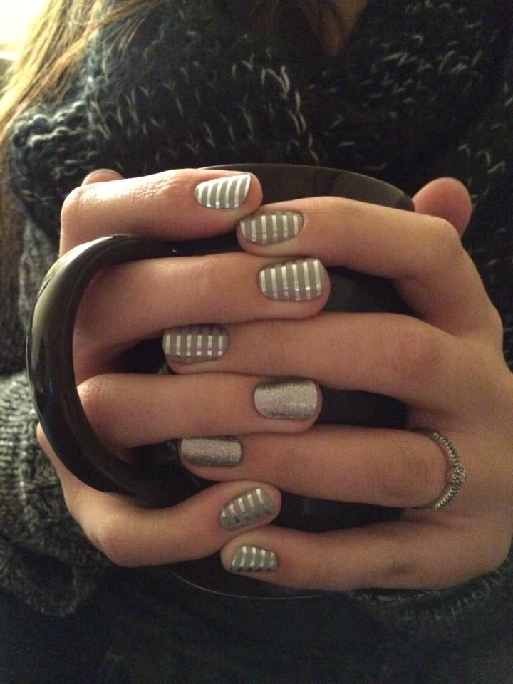 Grey and silver horizontal pinstripe diamond dust sparkle nails
