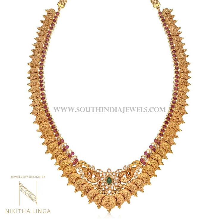 Beautiful gold coin haram highlighted with rubies and emeralds. For inquiries please contact the seller below. Seller Name : Nikitha Linga Contact : 040 6610 3566 Facebook : https://www.facebook.com/nikithalingajewelry/ Related PostsAntique Lakshmi Necklace SetGold Antique Temple Necklace From BhimaBeaded Necklace with Antique Pendant160 Grams Gold Neclace With Krishna PendantGold Antique Beaded Necklace from BhimaAntique Gold …