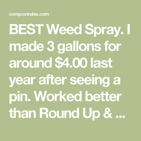 BEST Weed Spray. I made 3 gallons for around $4.00 last year after seeing a pin. Worked better than Round Up & killed the weeds/stray grass on first application. One gallon of APPLE CIDER VINEGAR, 1/2 c table salt, 1 tsp Dawn. Mix and pour into a smaller spray bottle. | Compost Rules.