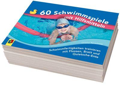 60 Schwimmspiele mit Hilfsmitteln - Schwimmfertigkeiten trainieren mit Flossen, Brett und Quietsche-Ente ++ Trainingsmaterial für Schüler an Grundschule, Hauptschule, Realschule, Gesamtschule und Gymnasium, Fach: Sport, Klasse 1–10 sowie für Übungsleiter & Trainer in Schwimm- & Sportvereinen ++ Schwimmfertigkeiten trainieren mit Schwimmspielen + Für Schwimmanfänger bis hin zu Schwimmprofis + Neue Spielideen für abwechslungsreiche Schwimmstunden + Praktische Kartei-Karten für die Schwimmhalle