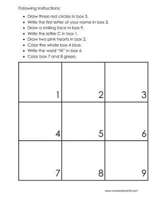 Following Instructions | Art, English Language Arts, Foreign Language, Math, Reading Strategies, Games | 6 worksheets to download to help with following directions.