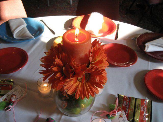 Festive gerber daisy and lime centerpieces