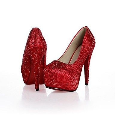 Womens Red or White Rhinestone Stiletto Heel