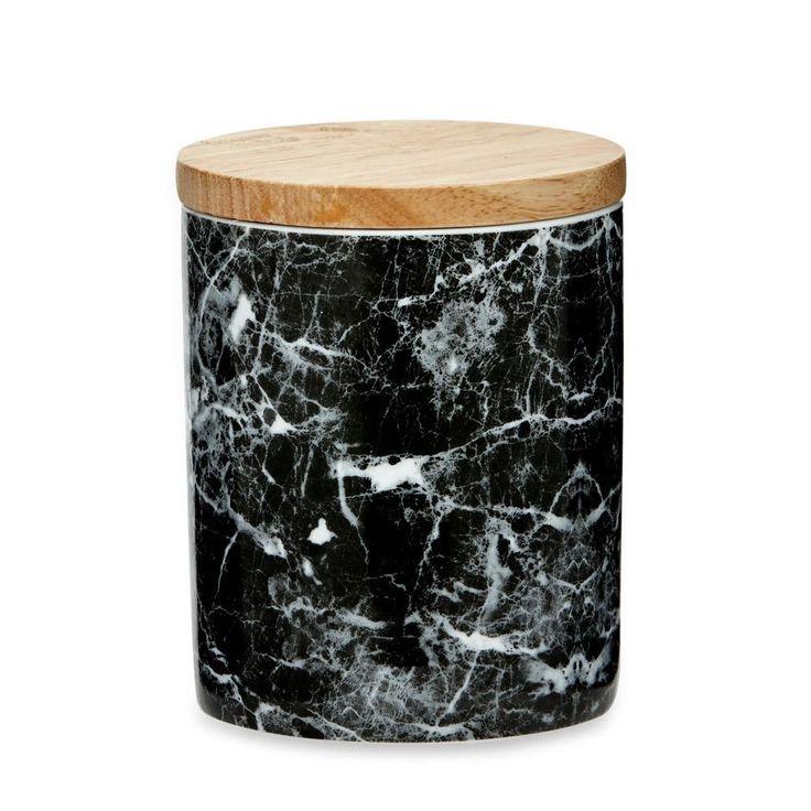 Black & White Marble Canister Medium