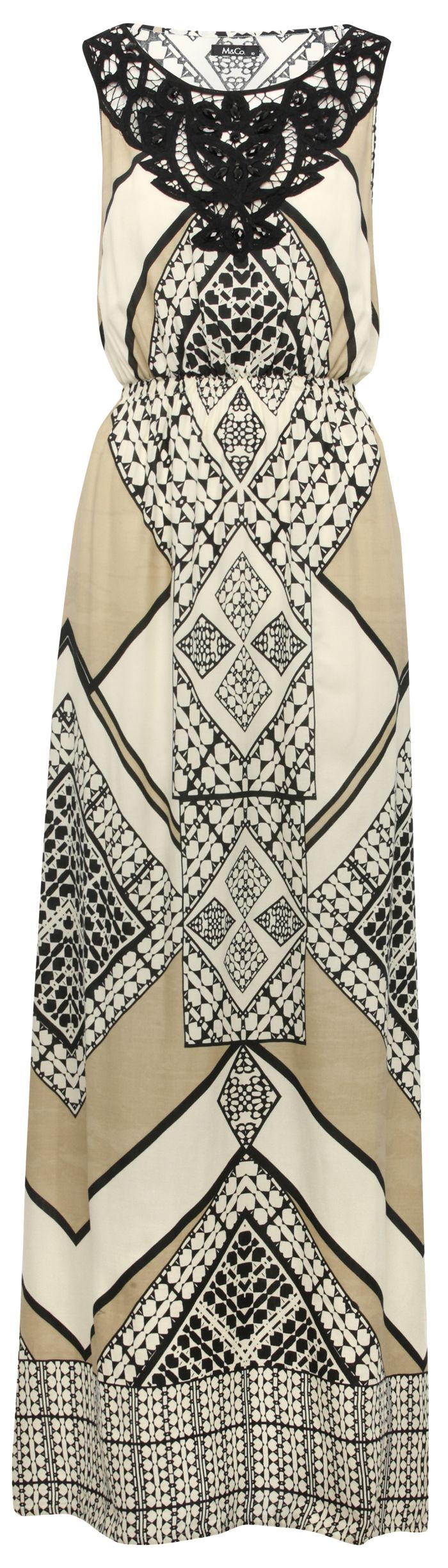 Women over 40 50 60 can wear tribal prints - tribal print maxi dress from M and Co prshots - CLICK TO READ here: http://boomerinas.com/2013/04/trends-for-spring-summer-clothes-for-real-women-over-40-2/