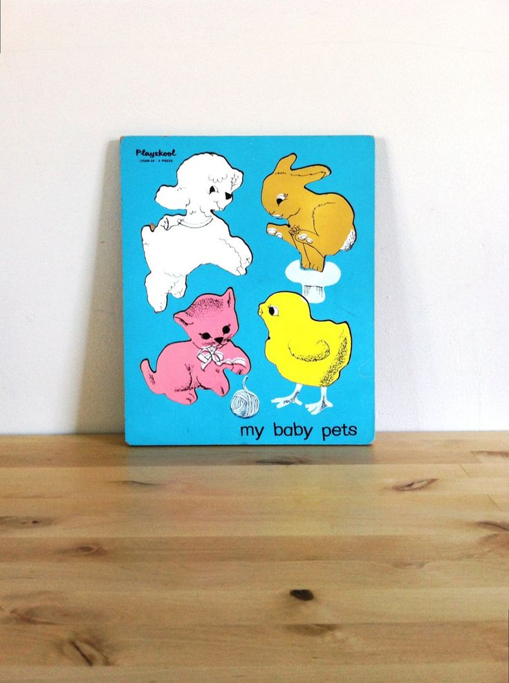 Baby Nursery Puzzle Playskool My Baby Pets Inlay Wood Puzzle | 1950s Vintage Toy | 50s Collectible Rare Wooden Pieces | Cat Bunny Lamb Chick