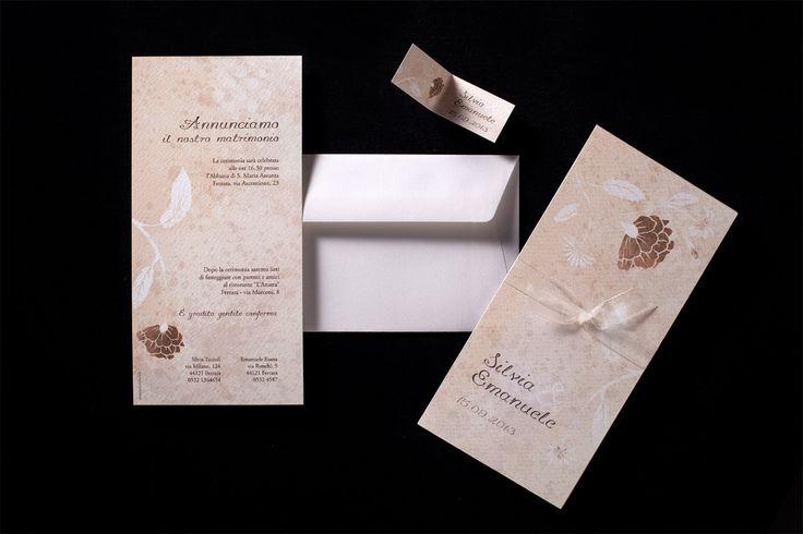 Biglietti confetti nozze floreale, primaverile, autunnale, invernale, country, elegante, classico, foglie: peonia
