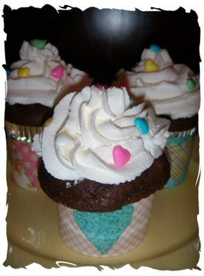 Dark Chocolate Cupcakes with Whipped Cream Icing