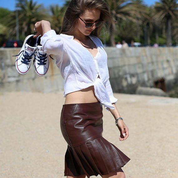 Frille #Leather #Skirt #pleaded #saia #Pele