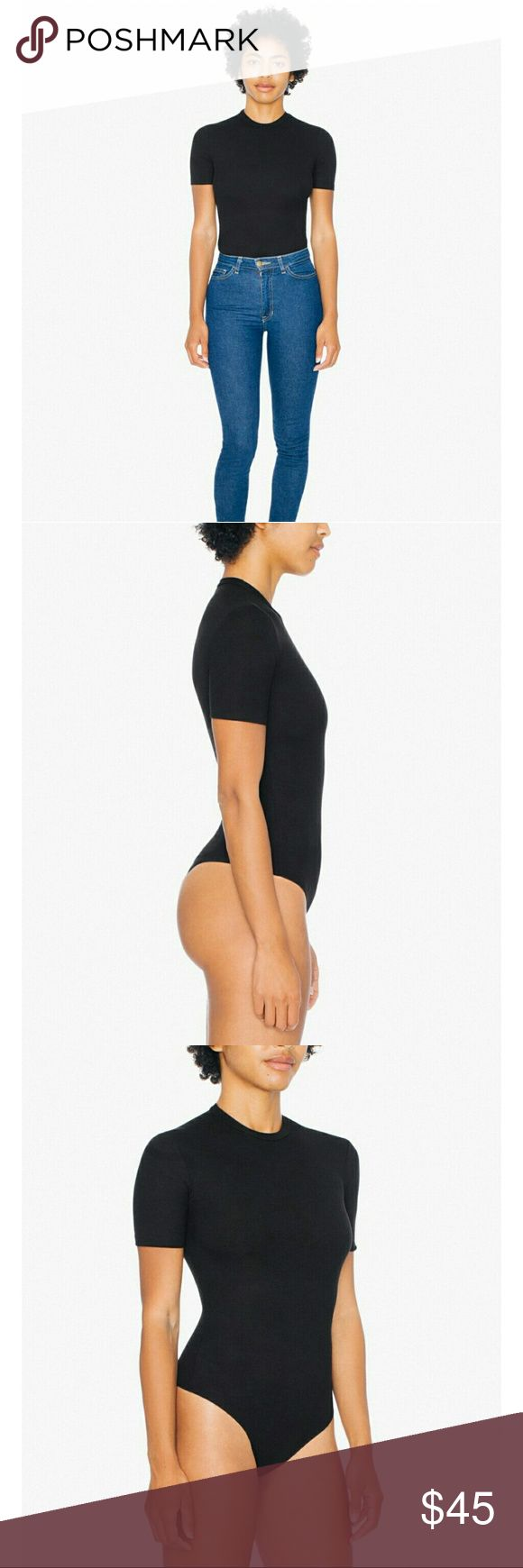 NWT AMERICAN APPAREL ribbed tshirt bodysuit New with tags! Perfect to pair with high waist jeans, skirts, and pants. Soft and stretchy, thong style avoids pantylines. Size medium but could fit 2-8. American Apparel Tops