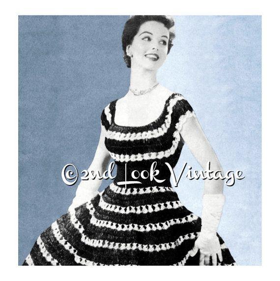 Vintage gehaakt patroon jaren 1950 Off Shoulder door 2ndlookvintage
