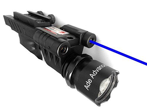 Ade Advanced Optics 650 lm Dual Strobe Flashlight with Blue Laser Combo Sight >>> Click image for more details.