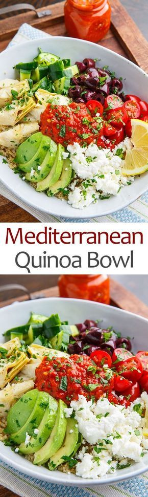 A quick, easy, light and healthy quinoa salad with Mediterranean inspired flavours including feta, olives, artichoke hearts, tomato, cucumber and avocado.