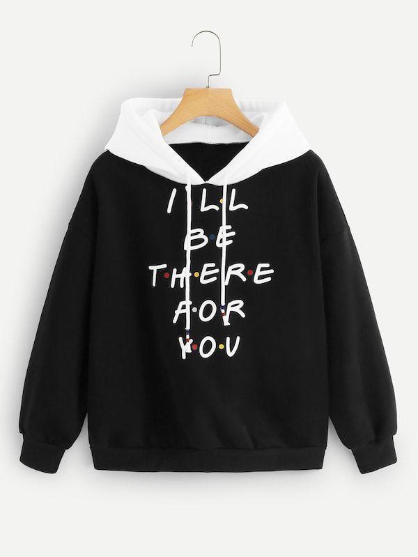 NatrE Women Letter Print T-Shirt Color Block Outdoor Drawstring Fashion Casual Tee Hoodie Sweatshirt