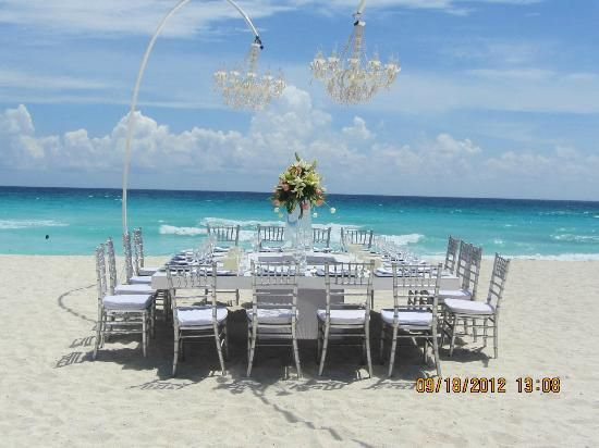 Beach Reception Setting At The Secrets Vine Cancun WeddingDestination WeddingMexico