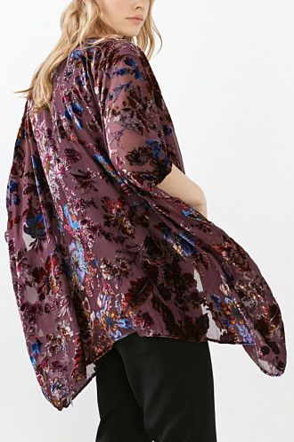 Esprit / Chiffon kimono met fluwelen bloemen